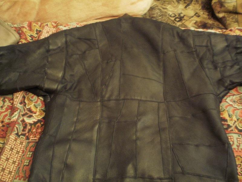 Дубленка черная мужская из кусочков размер 54